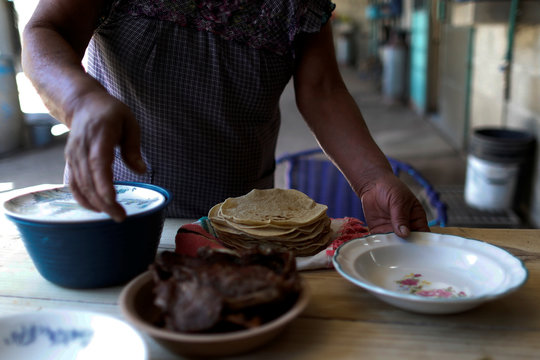 Corn tortillas are pictured on the Natalio de Santiago table at her house in Tepeteopan