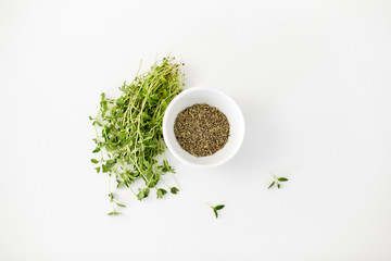 greens, culinary and flavoring concept - bunch of fresh thyme herb and dry seasoning in cup on white background