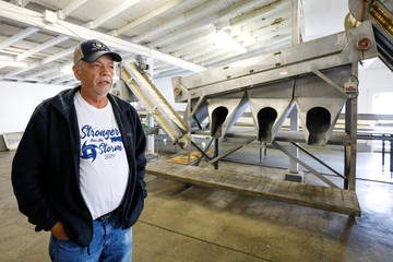 """Joseph """"Smokey"""" Parrish, manager of 13 Mile Seafood in Apalachicola, Florida, U.S., talks about the change in the condition of the Apalachicola Bay"""