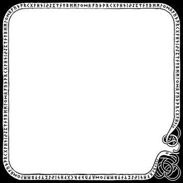 Runic square frame/ Illustration a frame with the scandinavian futhark in nordic style