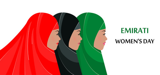 Emirati Women's Day. Three young girls in hijabs. Flat vector illustration. Poster, banner, congratulation on International Womens Day. Concept of the national holiday in the Emirates on August 28