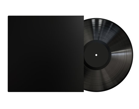 Black Vinyl Disc Record with Black Cover Sleeve and Black Label . 3D Render Isolated on White Background.