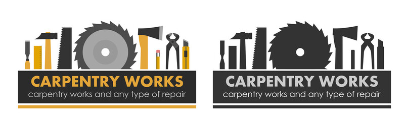 Carpentry works and any type of repair. Logo of handyman services. Carpenter. Hand tools of universal workshop. Home repair service. Woodworking carpentry shop. Foreman of woodworks. Isolated vector.