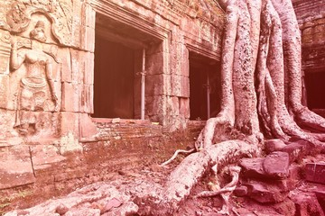 Wall Mural - Cambodia temple. Retro style filtered color.