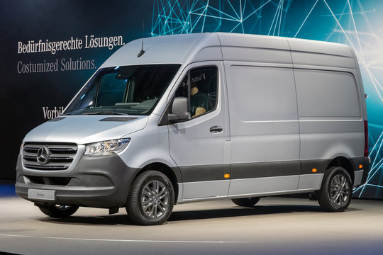 Mercedes-Benz Sprinter van showcased at the Hannover IAA Commercial Vehicles Motor Show. HANNOVER, GERMANY - SEP 27, 2018.