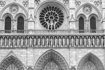 Wall Mural - Notre Dame, Paris. Black and white photo.
