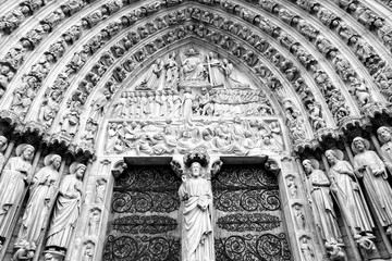 Wall Mural - Notre Dame cathedral in Paris France. Black and white photo.