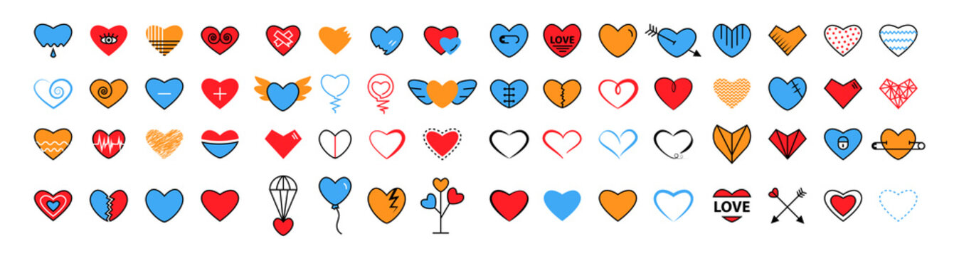Heart icon big set in flat and line icon style