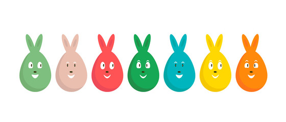 Banner with a set of colored Easter eggs with rabbit ears and a cheerful face. Easter spring vector