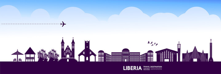 Fotomurales - Liberia travel destination grand vector illustration.