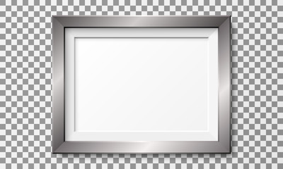 Realistic horizontal metal picture frame isolated on transparent background. Papier Peint