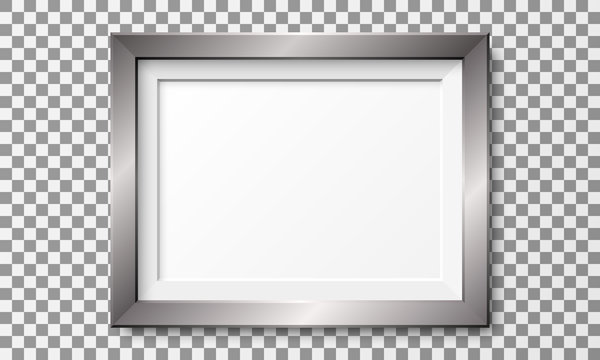 Realistic horizontal metal picture frame isolated on transparent background.