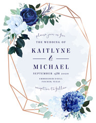 Royal blue rose,  white hydrangea, anemone, eucalyptus, juniper vector design frame