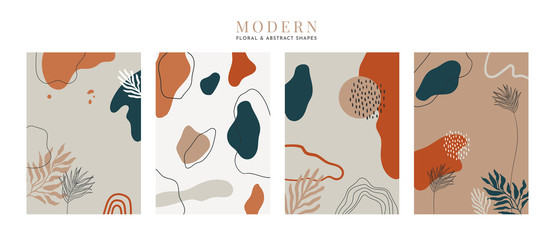 Collection of modern floral and abstract cards . Minimal trendy style leaves and shapes. Abstract universal art web header template. Vector illustartion