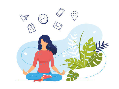 Vector illustration concept of business woman practicing meditation in office. The girl sits in the lotus position, the thought process, the inception and the search for ideas. Practicing Yoga at work