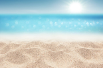 Wall Mural - Sea Sandy beach and Sunny in good weather day focus area at sand floor Summer background concept