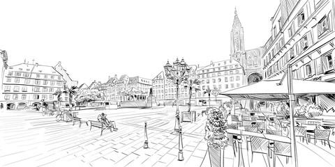 Kleber Square. Strasbourg. France. Hand drawn sketch. Vector illustration.