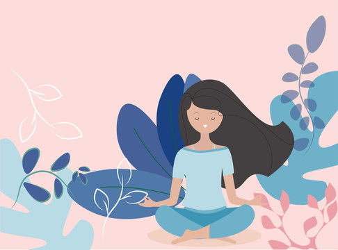 Young woman meditating vector. Relax concept illustration.