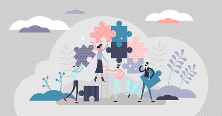 Teamwork jigsaw puzzle concept, flat tiny persons vector illustration