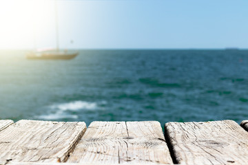 Canvas Prints Ship sea background and pier boards