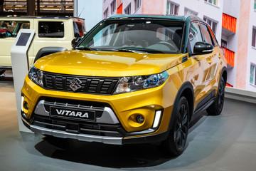 Suzuki Vitara SUV car showcased at the Paris Motor Show. PARIS - OCT 2, 2018.