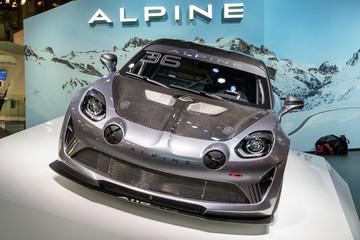 Alpine A110 GT4 sports car showcased at the Paris Motor Show. PARIS - OCT 2, 2018.
