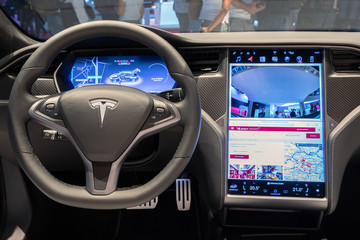 Interior dashboard view of the Tesla Model S P100D electric car showcased at the Paris Motor Show. PARIS - OCT 2, 2018.