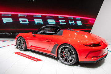 Porsche 911 Speedster sports car unveiled at the Paris Motor Show. PARIS - OCT 2, 2018.