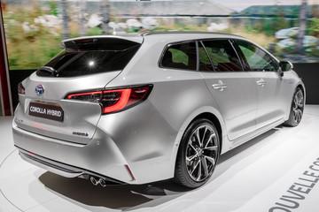 Toyota Corolla Touring hybrid car presented at the Paris Motor Show. PARIS - OCT 2, 2018.