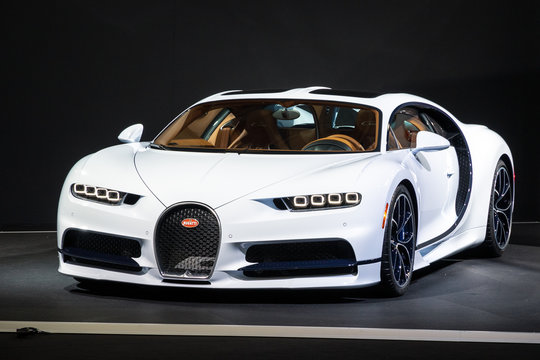 PARIS - OCT 2, 2018: Bugatti Chiron 8.0 W16 DSG Sequential sports car showcased at the Paris Motor Show.