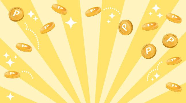 コイン風のポイントが飛ぶ ハッピーなイメージ(余白多め)