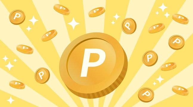 コイン風のポイントが飛ぶ ハッピーなイメージ(Pのマーク入り)