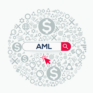 AML  mean (anti money laundering) Word written in search bar ,Vector illustration.