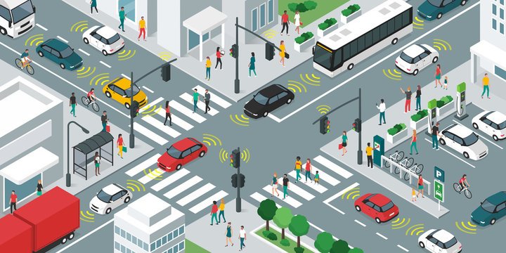 Smart transportation and vehicles moving in the city streets