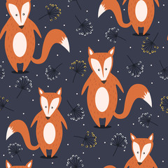 Door stickers Bestsellers Kids Colorful seamless pattern with foxes, flowers. Decorative cute wallpaper, good for printing. Overlapping background vector. Backdrop with animals