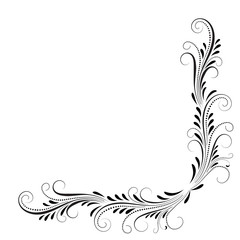 Wall Mural - Decorative floral corner ornament for stencil isolated on white background