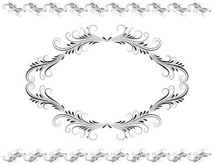 Wall Mural - Decorative vintage frame with floral ornament and border in retro style isolated on white