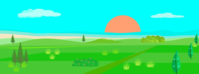 Landscape countryside background vector panorama illustration graphic design