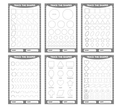 set of trace the geometric shapes around the contour. learning for children, drawing tasks. simple lesson figures
