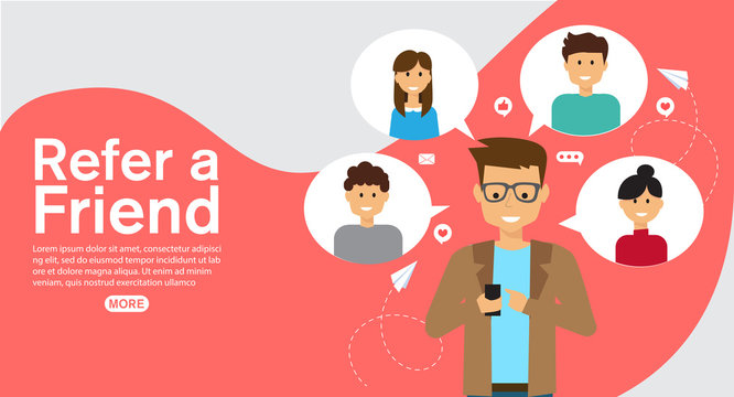 refer a friend affiliate partnership and earn money. marketing concept strategy.template for web landing page, banner, vector illustration