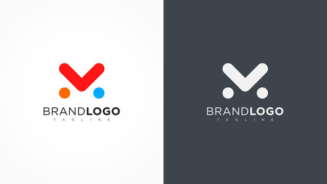 Abstract Letter M Logo Rounded Line with Dots. Flat Vector Logo Design Template Element.