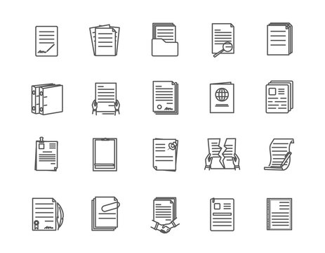 Large set of document icons with different layouts of text and number of pages with one torn through, vector line drawing illustration