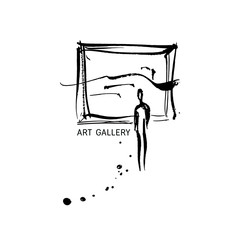 Gallery logo. Man is watching a picture
