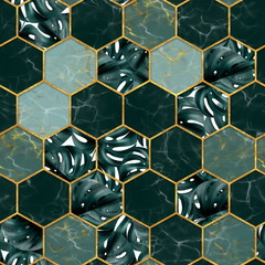 Marble hexagon seamless texture with gold. Tropical plants background