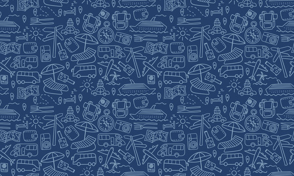 Horizontal seamless pattern with travel doodles. Dark vacation background. Vector illustration.