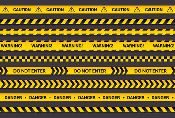 Caution tape set, yellow warning strips, danger symbol, arrows, yellow lines with black text and triangle sign. Horizontal banner collection with attention message. Wall mural