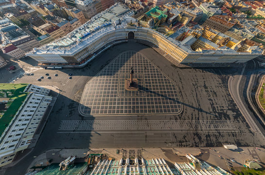Aerial view of the Palace Square, St. Petersburg, Russia