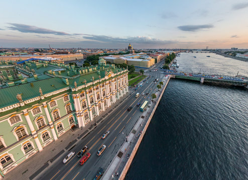 Aerial view of the Palace Embankment, St. Petersburg, Russia