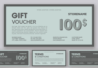 Light Teal and Gray Gift Voucher Layout