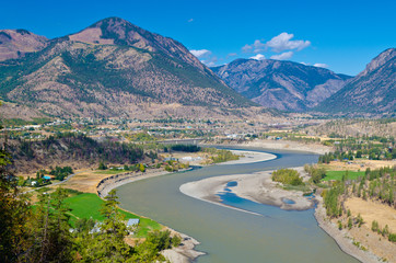 Wall Mural - Beautiful River over gorgeous mountains in Lillooet, British Columbia, Canada.